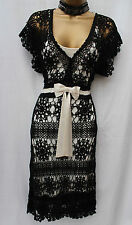 Karen Millen White Black Vintage Style Crochet Cocktail Summer Dress 1 UK-8