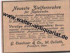 Teschner Collath Frankfurt/Oder Zielfernrohr Werbeanzeige anno 1899 Reklame