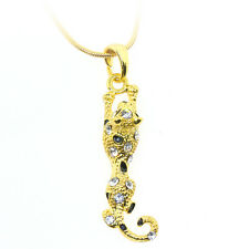 "Yellow Gold Color Jaguar Leaper Charm 3D Pendant with Crystals and 16"" Chain"