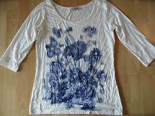 DIDI schönes Shirt m. Blumendruck 3/4 Ärmel creme blau Gr. S w. NEU ZC616