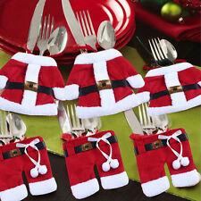 New 6PCS Merry Sweet Christmas Decoration Santa Silverware Holders Pockets