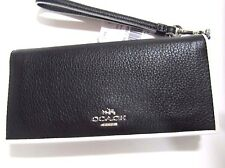 New Coach Slim Wallet Black Silver Tricolor Edgestain Pebbled Leather 55295 $165