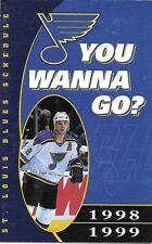 1998-99 NHL HOCKEY SCHEDULE - ST. LOUIS BLUES #2 AL MACINNIS
