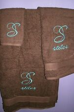 Monogram Elegant Swirl Letter  Personalized 3 Piece Bath Towel Set ANY COLOR