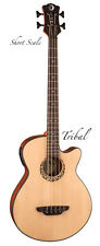 Luna 4 String Short Scale Tribal Rosette Acoustic Bass Guitar - Matte Finish