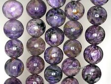 14MM-15MM CHARA RIVER CHAROITE GEMSTONE  PURPLE ROUND 14MM-15MM LOOSE BEADS 7.5""