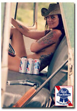 "Pabst Blue Ribbon Beer Country Girl Fridge Toolbox Magnet Size 2.5"" x 3.5"""