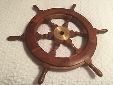 Wooden Brass Ship Wheel, 18-Inch-Free Shipping