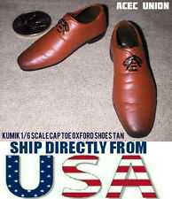 "KUMIK 1/6 Cap Toe Oxford Shoes TAN For 12"" Hot Toys Female Figure  U.S.A. SELLER"