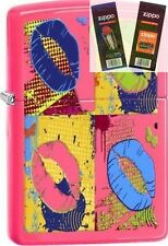 Zippo 29086 multi-colored lips neon Lighter with *FLINT & WICK GIFT SET*