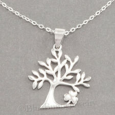 CELTIC TREE of LIFE SHAMROCK Irish Clover Pendant & 925 STERLING SILVER Necklace