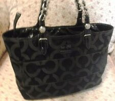 COACH TRIBECA BLACK OP ART SIGNATURE E/W TOTE #14133