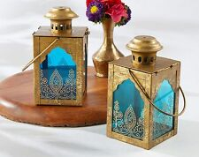 Asian Jewel Blue Gold Lantern Tea Light Wedding Favor Decoration Q35617
