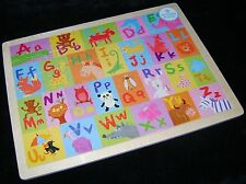NEW CHILDRENS WOODEN COLOURFUL ANIMAL ALPHABET ABC 48 PIECE JIGSAW PUZZLE
