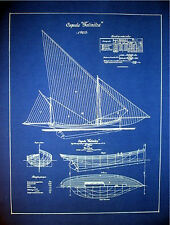 "Vintage Sailboat Yacht 1905 Blueprint Plan Drawing 18"" x 24""  (011)"