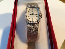 Ladies 14k white gold OMEGA wristwatch, mechanical wind