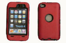 Best Protection Case / Cover for iPOD TOUCH 4 RED / BLACK Free Stylus!!
