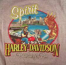 MENS HARLEY DAVIDSON TSHIRT GRAY SPIRIT PITTSBURGH PA SIZE M MEDIUM SHORT SLEEVE