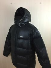 Men HELLY HANSEN Hooded Black Down Filling Winter Jacket L Large