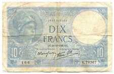 France Third Republic Thru Wwii Banque de France 10 Francs 1940 F