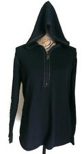 Harley Davidson Women's Half Zip Hooded Fine Gauge Knit Sweater Size L Black