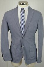 (40L) LBM 1911 Men's Blue Cotton Linen Italian SLIM FIT Blazer Sport Coat Jacket