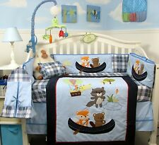 BLUE CRIB BEDDING SET LET'S GO FISHING Infant Baby Boy Nursery 11 Pc Quilt Sheet