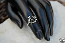 Antique Silver CZ Crystal  Camellia Flower Ring  Love size 5 Midi