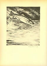 1937 Vintage Schaldach Fish Print ~ Shady Pool ~ Signed In ~ Rainbow Trout