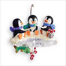 2007 Hallmark PENGUIN Ornament CHILLY FISHY FUN Ice Fishing *Priority Shipping*
