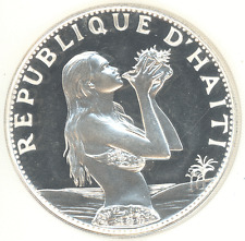 Haiti 50 Gourdes 1973 WOMAN & CONCHA SHELL Choice+ Proof silver, Beautiful