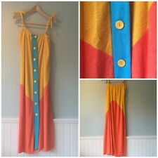 Vintage Wards MOD COLOR BLOCK Terry Cloth Maxi Dress Beach Wear Cover Up