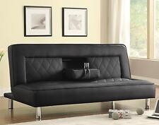 Coaster Furniture 500010 Sofa Bed Black Faux Leather With Drop Console