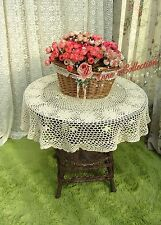 "Shabby~Hand Crochet Table Topper/Tablecloth~Beige/Ecru~36"" Round~Country Cottage"