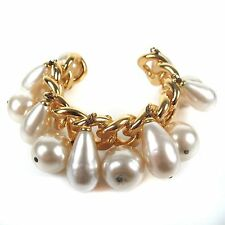 CHANEL GIANT PEARL CHAIN CUFF XL RARE GOLD CHARM BANGLE BRACELET BEAD CC VINTAGE