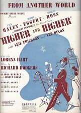 """Rodgers & Hart """"HIGHER and HIGHER"""" Jack Haley / June Allyson 1940 Sheet Music"""