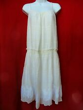 TIBI Womens Off White Cream Floral Embroidered Peasant Boho Cotn Silk Dress 2 XS