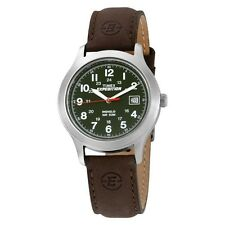 Mens Timex Indiglo Expedition Brown Leather Band Green Dial Date Watch T40051