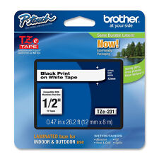 "Brother TZe231 12mm 1/2"" black on white PTouch TZ tape PT P750W E500 H500 H500LI"