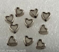 Vintage Metal Bead Heart Drilled Through Lot of 10 Jewelry Making