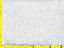 White on White Snowflakes Christmas Quilting Fabric by Yard  #3118