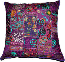 On Sale 24x24 Indian Patchwork Pillow Cover,Purple Bohemian Pillow, Sofa Cushion