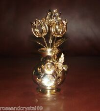 TULIPS IN VASE~HUMMINGBIRD~24K GOLD PLATED FIGURINE WITH BEST~AUSTRIAN CRYSTALS~