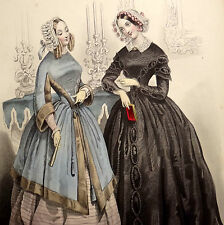 LE FOLLET 1845 Hand-Colored Fashion Plate #1219 Toilettes de Soiree ORIG.PRINT