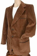 Vintage 70s Mens 2 pc BROWN CORDUROY SUIT Retro Hippy sportcoat jacket pants 38R