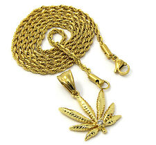 """Mens Small Gold Stainless Steel 24"""" Rope Chain Marijuana Weed Bud Pendant S105"""