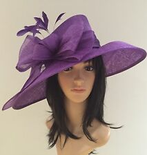 Suzanne Bettley purple WEDDING Hat Occasion FORMAL Mother Of The Bride SINAMAY
