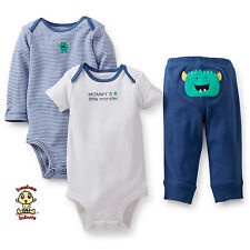 Carter's 3-piece Turn Me Around Set Cute Monster Blue 3mos Authentic & Brand New