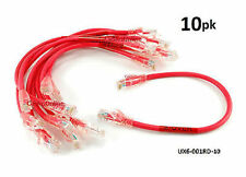 10-PACK 1ft CAT6 Crossover Ethernet RJ45 Patch Cable, CablesOnline UX6-001RD-10
