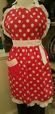 Disney Parks Minnie Mouse Full Apron Adult Red Polka Dot Kitchen NWT
